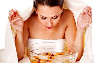 Паровые ванночки с цветами ромашки для кожи лица